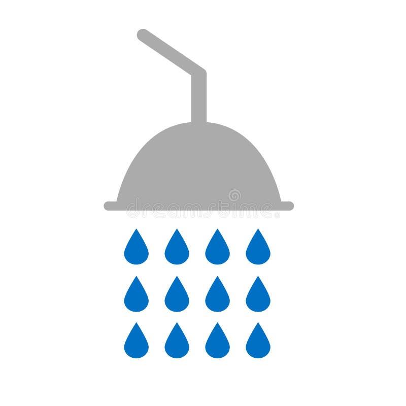 Vlakke pictogramdouche met waterdalingen royalty-vrije illustratie