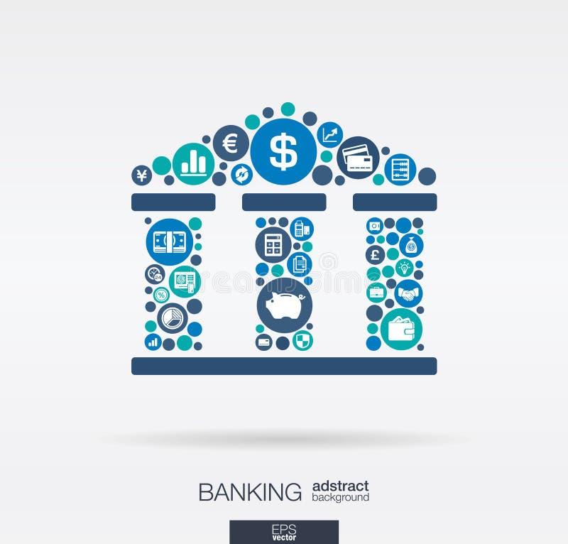 Vlakke pictogrammen in een bank van van de van het van het de bouwvorm, bankwezen, geld, kaart, bedrijfs en financiën concept stock illustratie