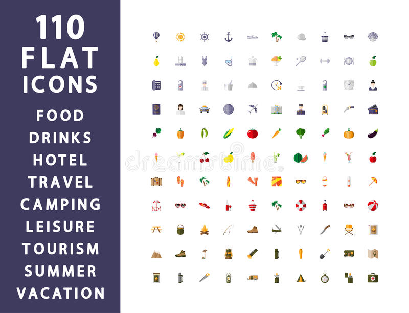 110 vlakke pictogrammen Het reizen, het kamperen, hotel vector illustratie