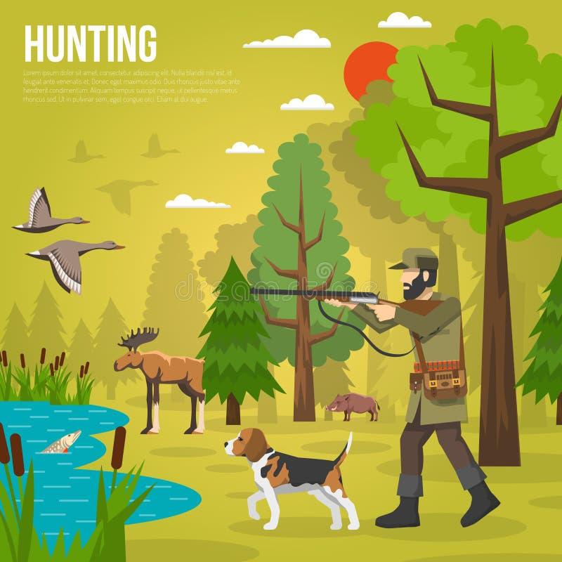 Vlakke Pictogrammen met Hunter Aiming At Ducks vector illustratie
