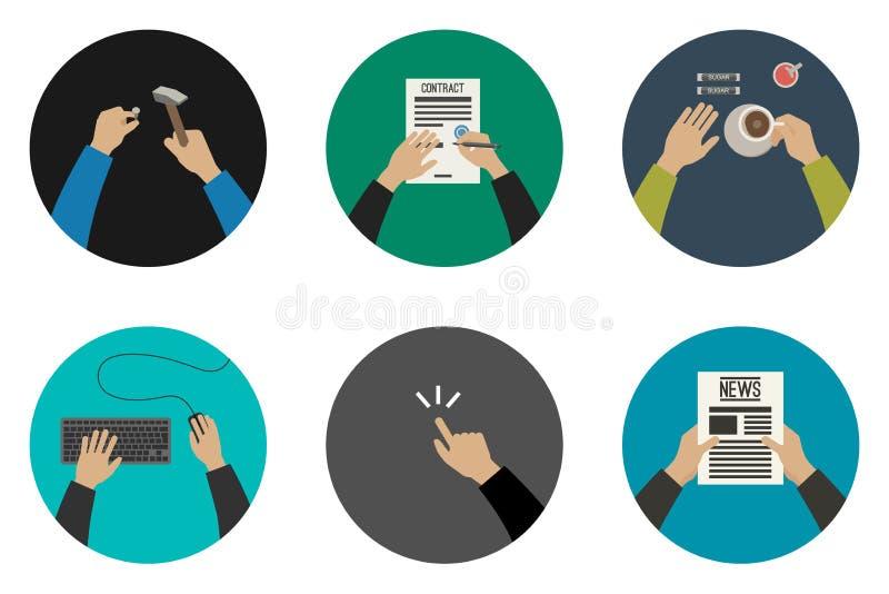 Vlakke pictogrammen met werkende handen vector illustratie