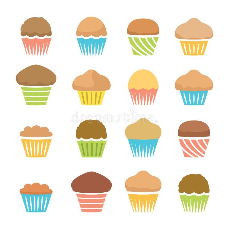 Vlakke pictogrammen van chocolade en fruitmuffins, eigengemaakte cakes royalty-vrije illustratie