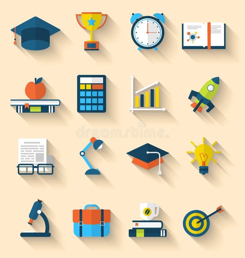Vlakke pictogrammen van elementen en voorwerpen voor middelbare school en universiteit vector illustratie