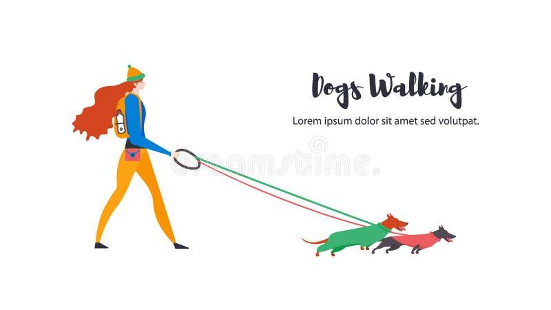 Vlakke pictogrammen van huisdieren en persoonlijke hond-leurder Grappige tekkels in overall en leuk actief meisje vector illustratie