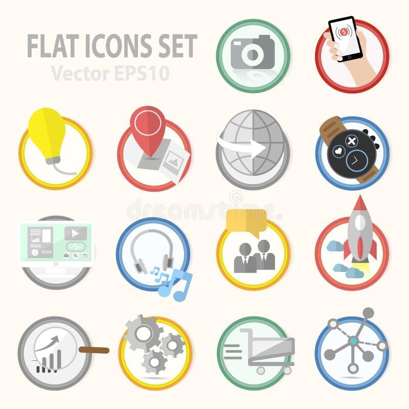 Vlakke pictogrammen vectorinzameling voor bedrijfs, bureau en marketing punten royalty-vrije illustratie