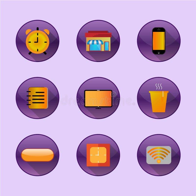 Vlakke pictogrammen voor freelance huis stock fotografie