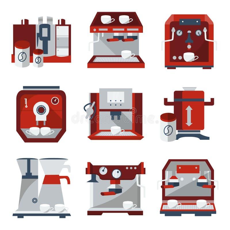 Vlakke pictogrammen voor het verkopen van koffiemachines royalty-vrije illustratie