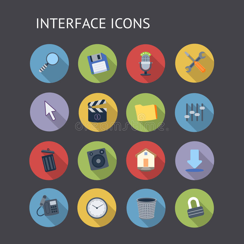 Vlakke Pictogrammen voor Interface stock illustratie