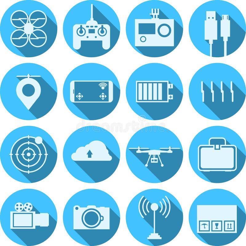 Vlakke pictogrammen voor quadrocopterreeks royalty-vrije stock afbeeldingen
