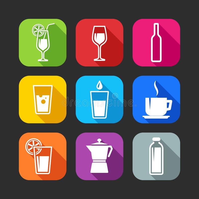 Vlakke pictogrammen voor Web en mobiele toepassingen met dranken royalty-vrije illustratie