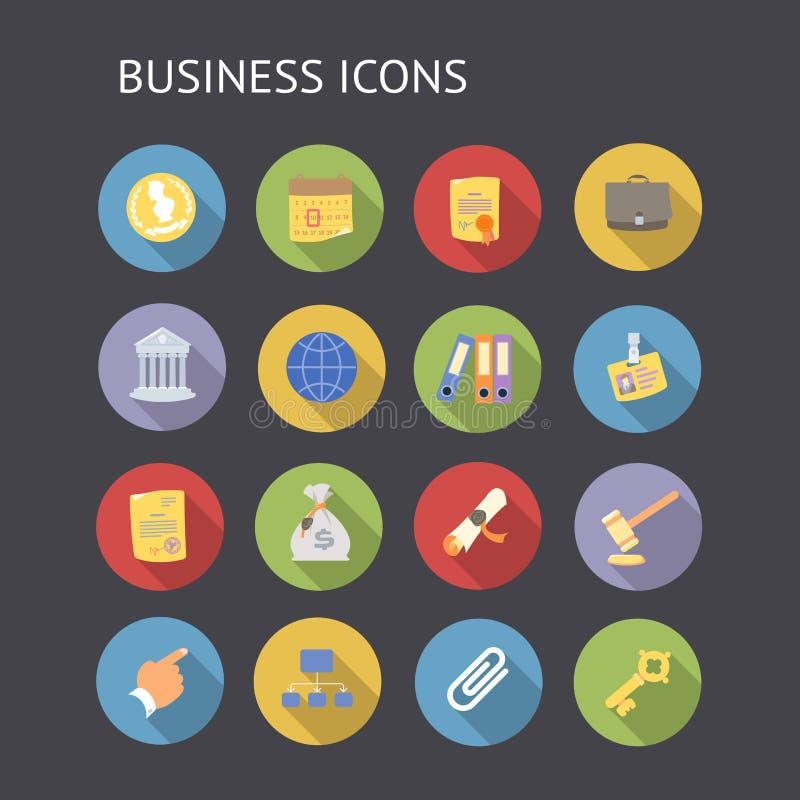 Vlakke pictogrammen voor zaken en financiën royalty-vrije illustratie