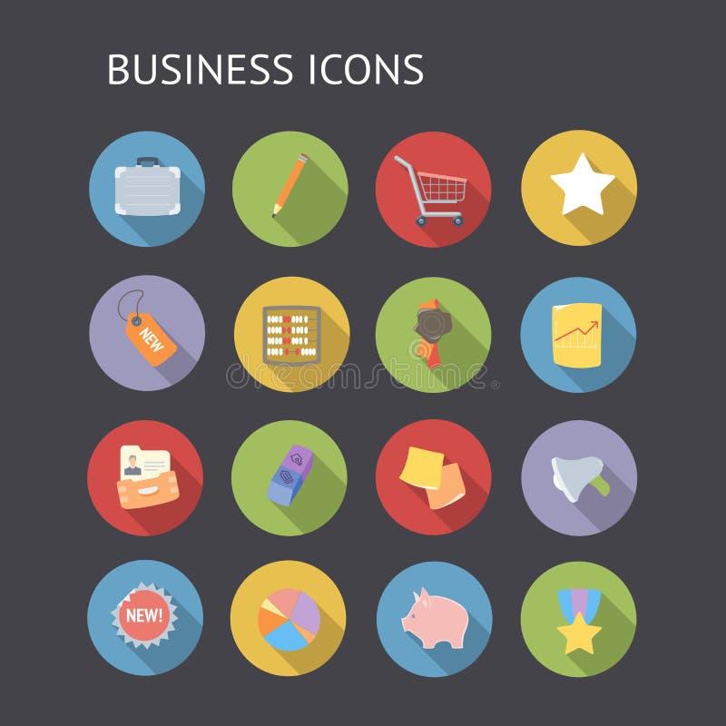 Vlakke pictogrammen voor zaken en financiën stock illustratie