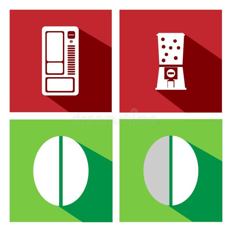 Vlakke pictogrammenautomaten en koffieboon royalty-vrije illustratie