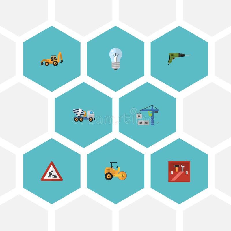 Vlakke Pictogrammenbol, die Machine, Stoomwals en Andere Vectorelementen hijsen Reeks Symbolen van Bouw Vlakke Pictogrammen ook stock illustratie