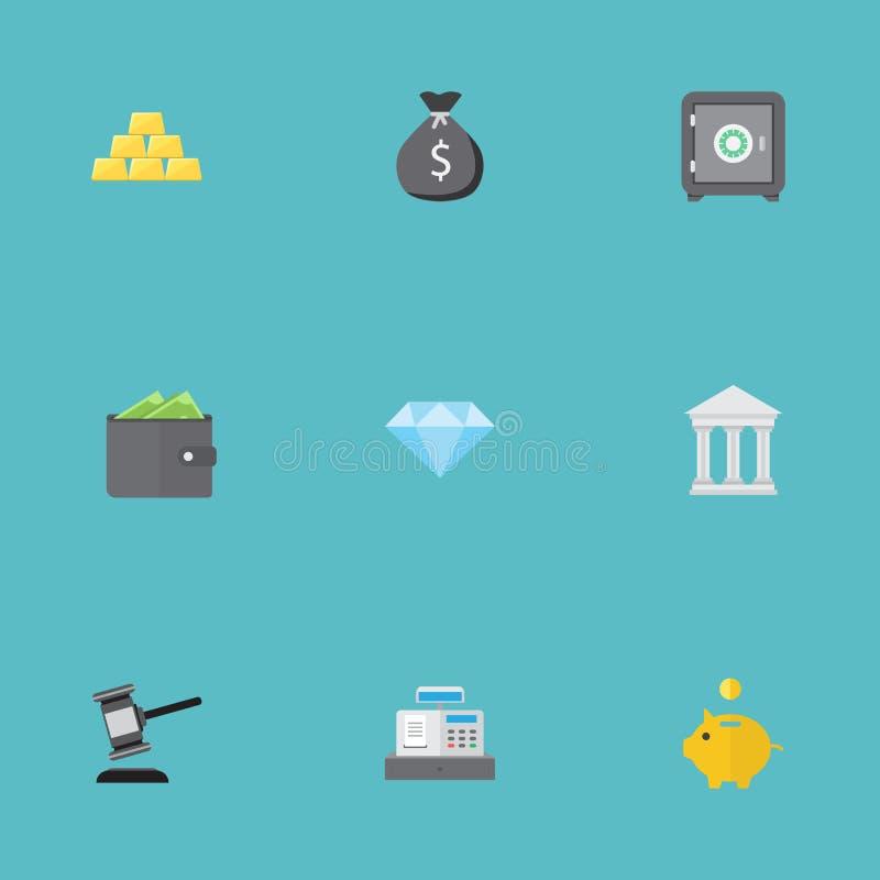 Vlakke Pictogrammenbrandkast, Bank, Oordeel en Andere Vectorelementen De reeks Symbolen van Bankwezen Vlakke Pictogrammen omvat o vector illustratie