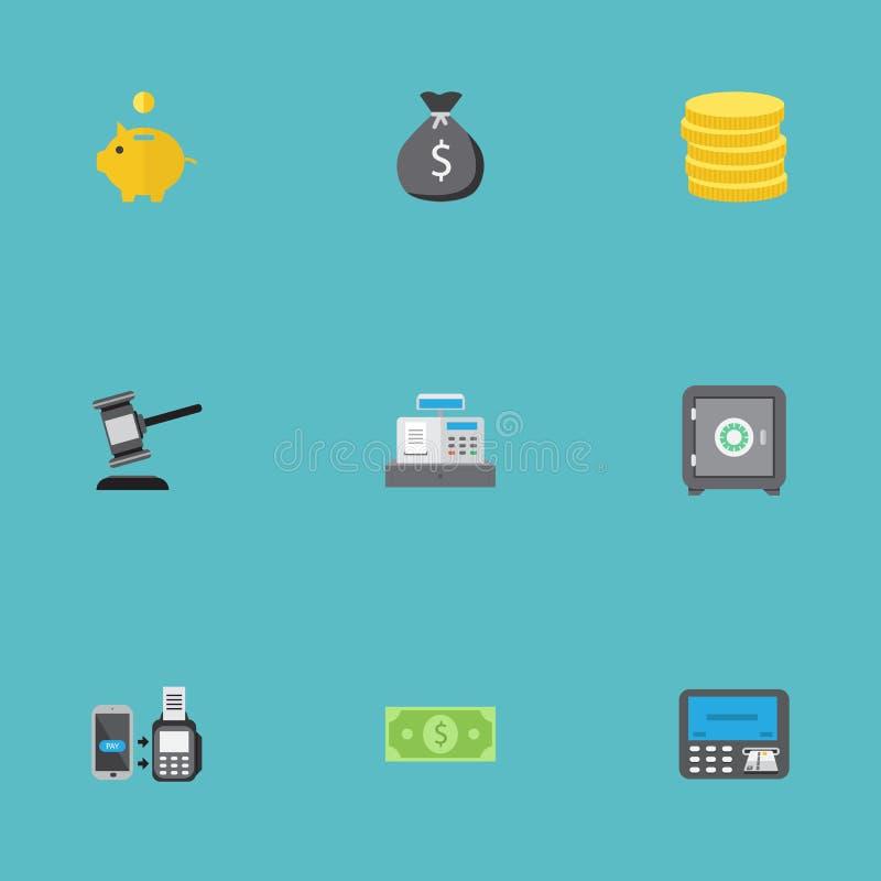 Vlakke Pictogrammenbrandkast, Spaarpot, het Verre Betalen en Andere Vectorelementen Reeks Symbolen van Bankwezen Vlakke Pictogram stock illustratie