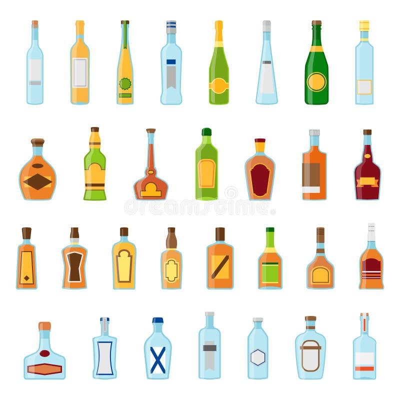 Vlakke pictogrammenreeks alcoholische dranken Alcoholdranken stock illustratie