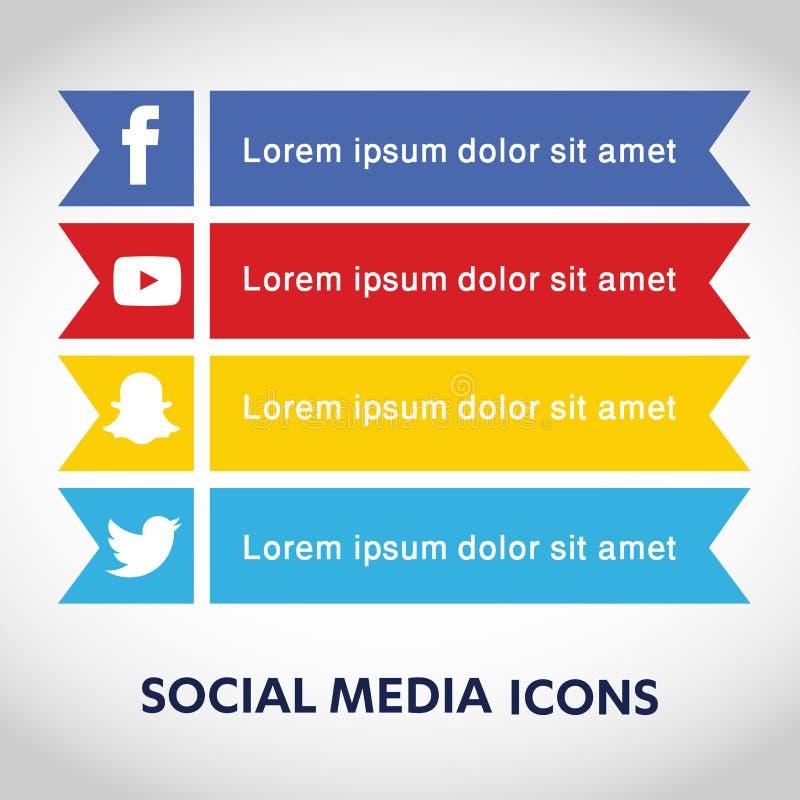 Vlakke pictogrammentechnologie, sociale media, netwerk, computerconcept Abstracte achtergrond met objecten groep elementen stersm royalty-vrije illustratie
