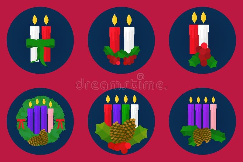Vlakke pictogramreeks, het ontwerp van Kerstmiskaarsen stock foto