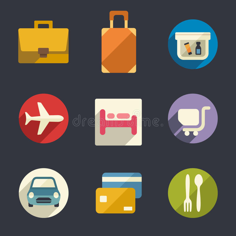 Vlakke pictogramreeks. Luchthaven en luchtvaartlijnen de diensten. vector illustratie