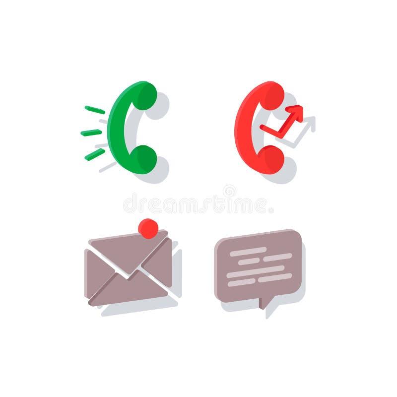 Vlakke pictogramtelefoon De pictogrammen van de contactinformatie: post, telefoon en praatje vector illustratie