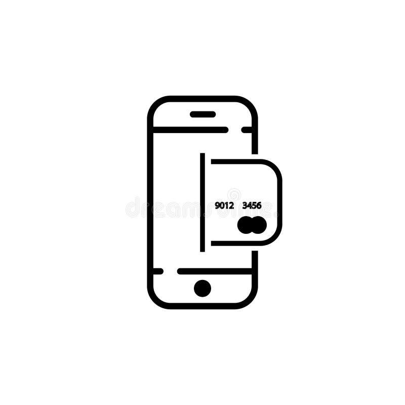 vlakke pictogramtelefoon en creditcard vectorsymbool EPS10 stock illustratie
