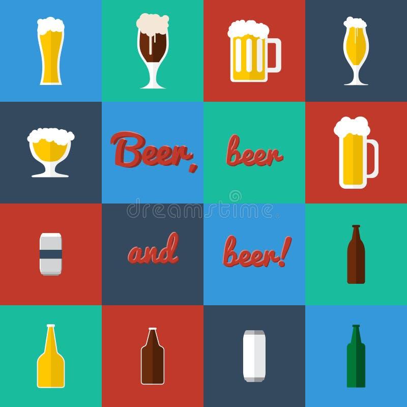 Vlakke reeks bierglas en flessenpictogrammen stock afbeelding
