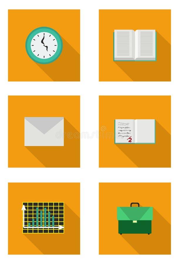 Vlakke reeks met boek, schooltas, envelop, notitieboekje, grafiek vector illustratie