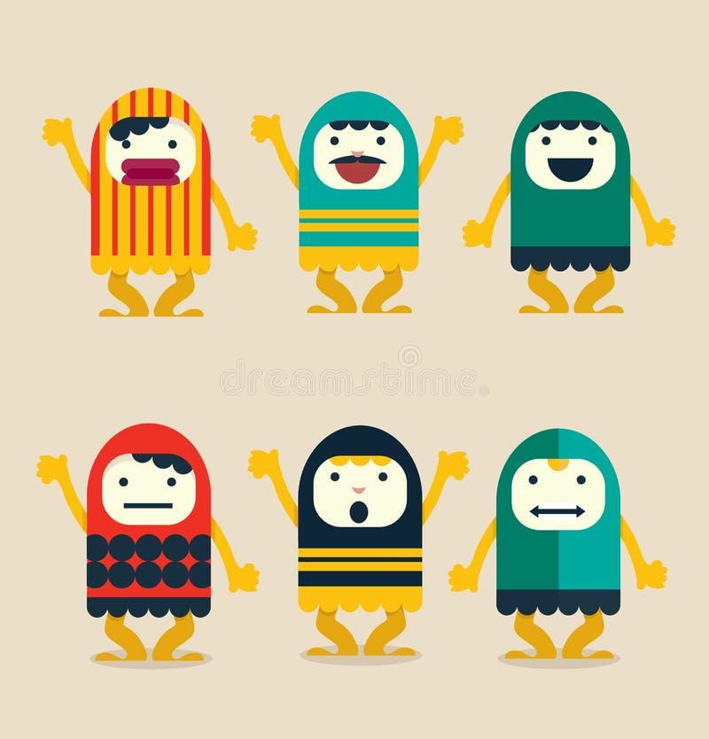 Vlakke reeks van grappig karakter vector illustratie