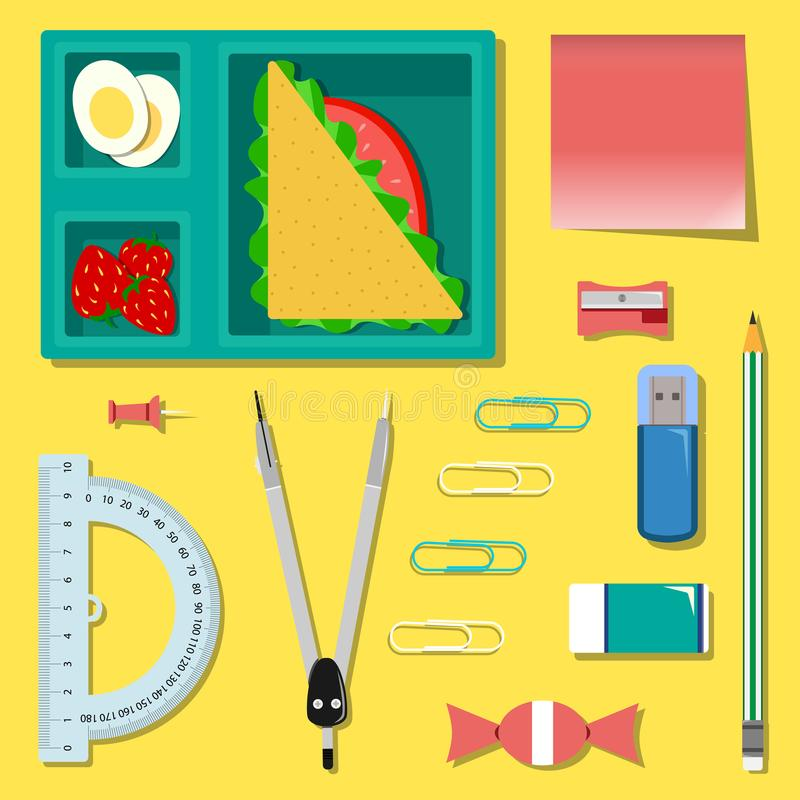Vlakke reeks van kantoorbehoeften met lunchvakje op de lijst vector illustratie