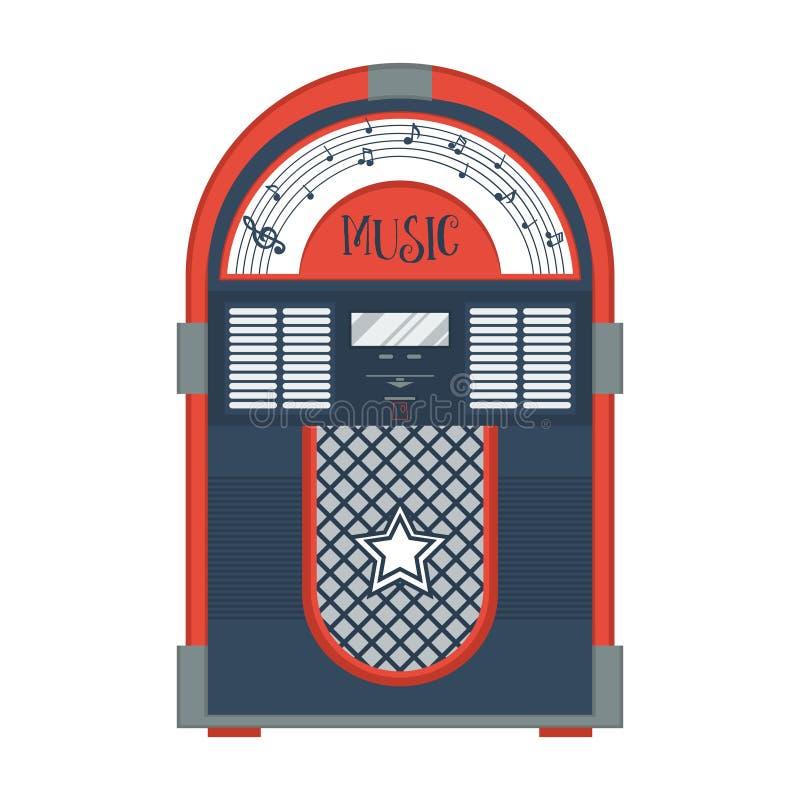 Vlakke retro juke-box royalty-vrije illustratie