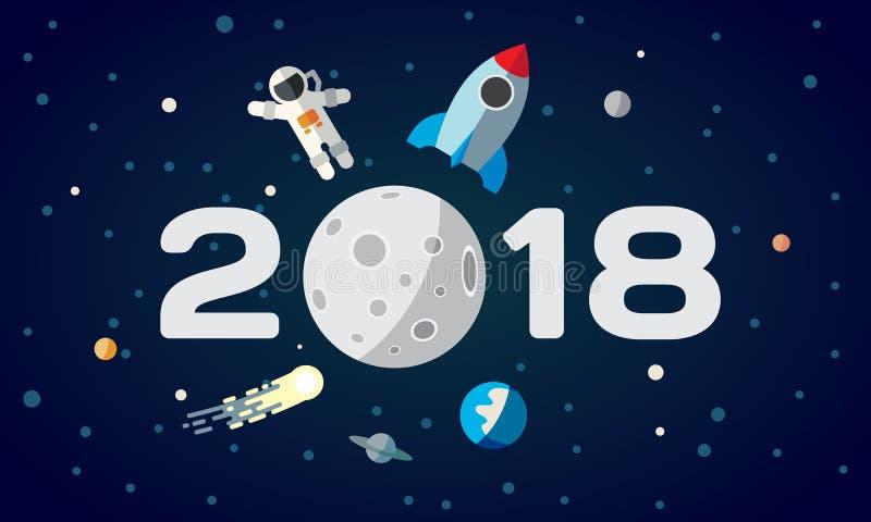 Vlakke ruimteillustratie voor kalender De astronaut en de raket op de maanachtergrond 2018 Gelukkige Nieuwjaardekking, affiche, F royalty-vrije illustratie