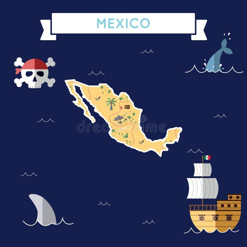 Vlakke schatkaart van Mexico stock illustratie