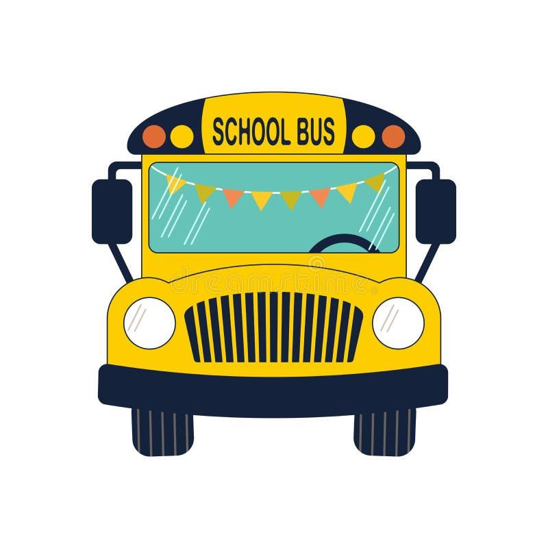 Vlakke schoolbus royalty-vrije illustratie