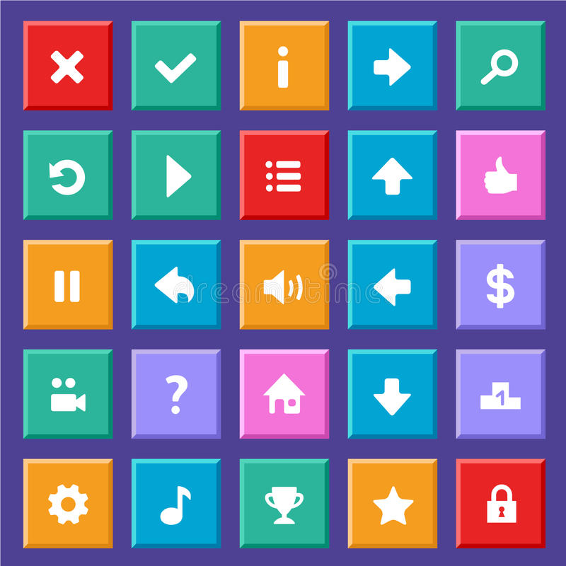 Vlakke spelpictogrammen vector illustratie