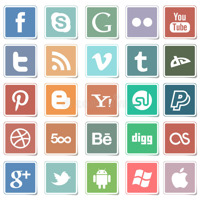 Vlakke stickers sociale media pictogrammen vector illustratie