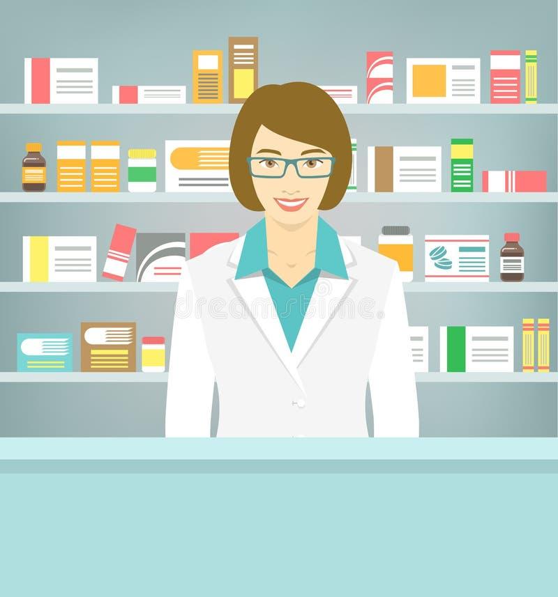 Vlakke stijl jonge apotheker bij apotheek tegenover planken van geneesmiddelen stock illustratie