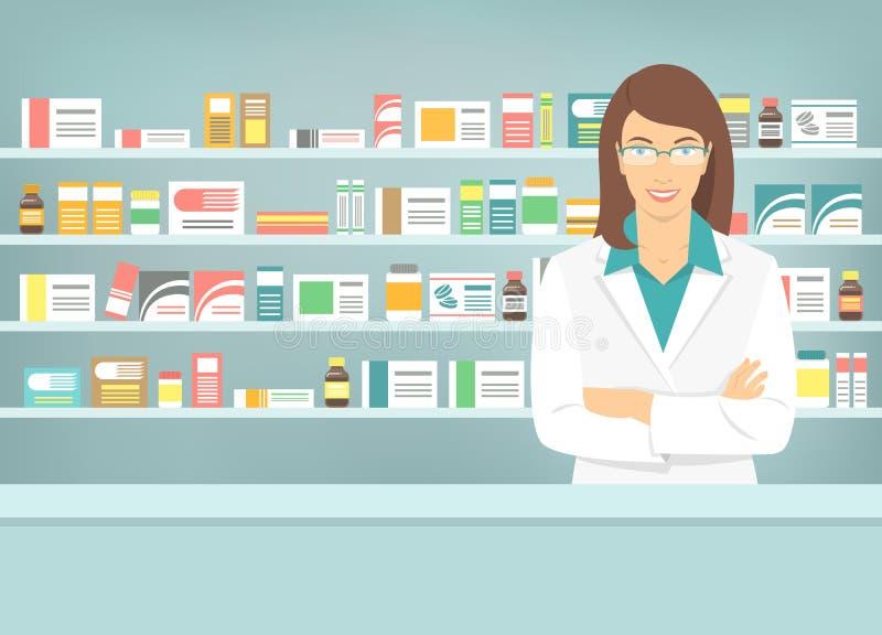 Vlakke stijl jonge apotheker bij apotheek tegenover planken van geneesmiddelen vector illustratie