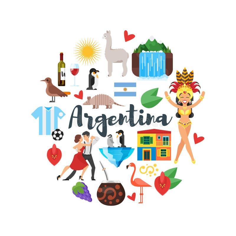 Vlakke stijl om samenstelling van de nationale culturele symbolen van Argentinië stock illustratie