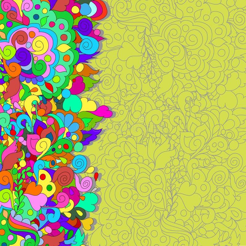 Vlakke stijl vectorillustratie met bloemen stock afbeeldingen