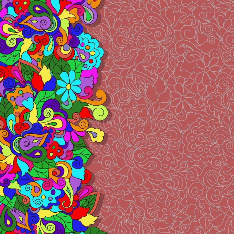 Vlakke stijl vectorillustratie met bloemen royalty-vrije stock afbeeldingen