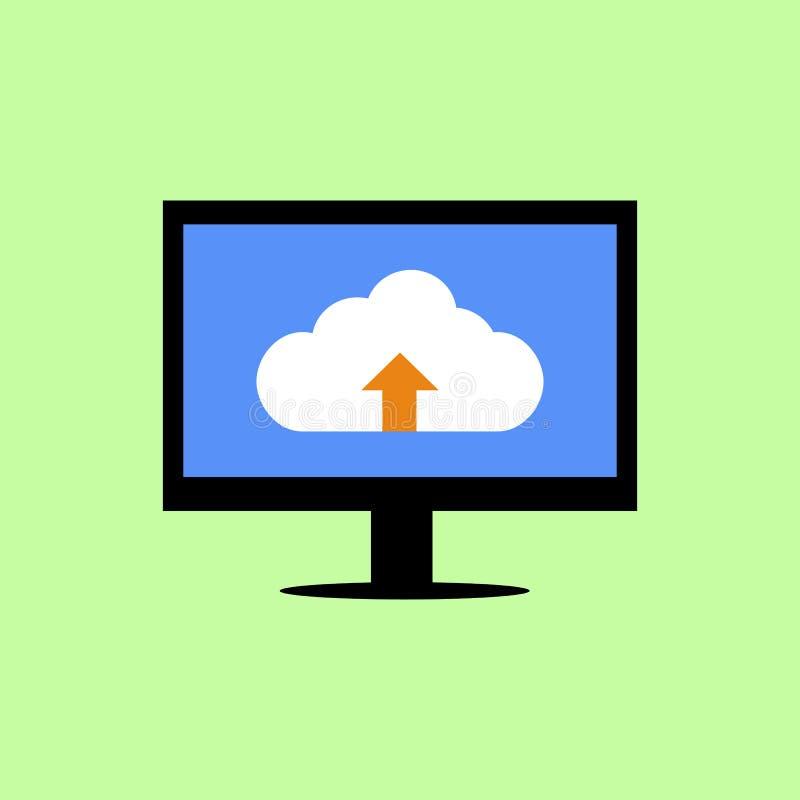 Vlakke stijlcomputer met wolk het uploaden vector illustratie