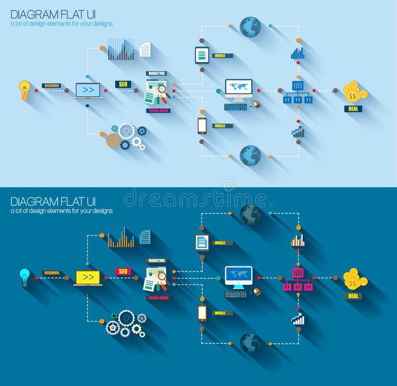 Vlakke Stijldiagram, Infographic en UI-Pictogram