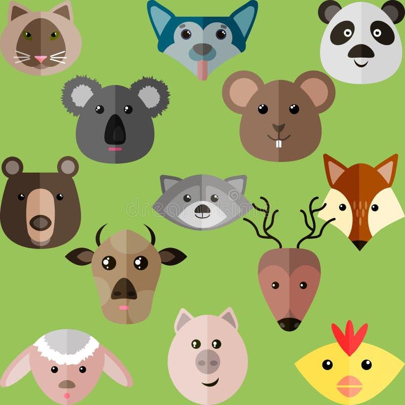 Vlakke stijlillustratie van verschillende dieren stock illustratie