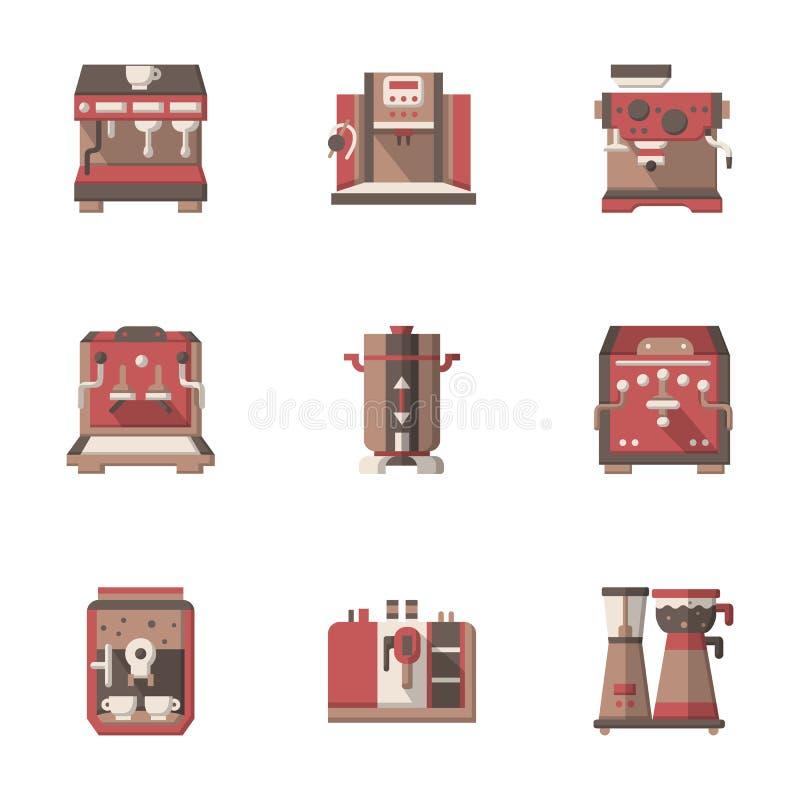 Vlakke stijlkoffie die materiaalpictogrammen maken stock illustratie