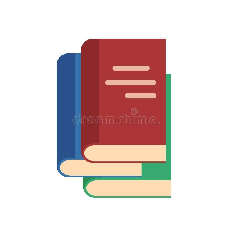 Vlakke stijlstapel van boekenpictogram op wit, voorraad vectorillustratie stock illustratie