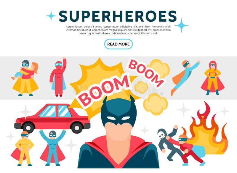 Vlakke Superheroes-Geplaatste Elementen vector illustratie