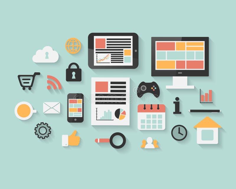 Vlakke technologie, zaken en sociale media Webpictogrammen vector illustratie