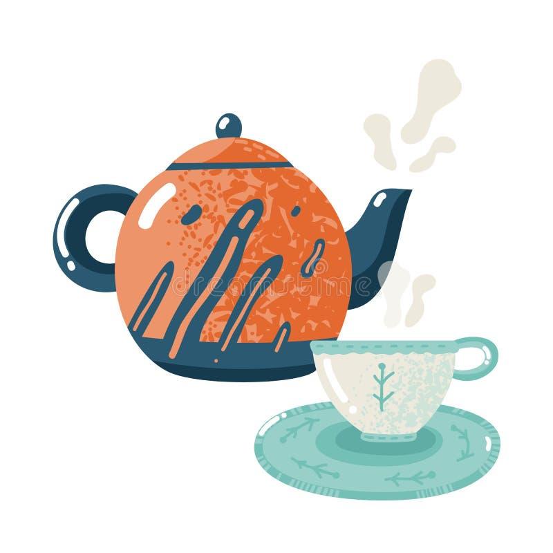 Vlakke theetijd De theedrank van het gastvrijheids verwarmende comfort met hete theepot en de vlakke vector geïsoleerde illustrat royalty-vrije illustratie