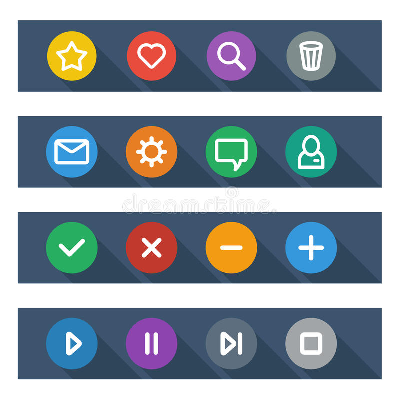 Vlakke UI-ontwerpelementen - reeks basiswebpictogrammen royalty-vrije illustratie